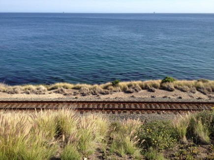 California Tracks and Pacific Ocean